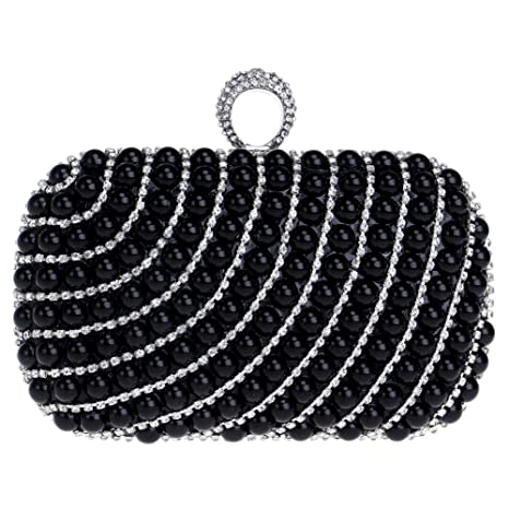Boda Bolso Mujer Noche Bolsas Fiesta Carteras Mano Perlas Cadena Embrague Negro