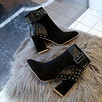 ❤ Remache Botas de tacón Alto de Las Mujeres, Botas de Moda Mujeres Remache Zapatos de Plataforma Fiesta de Tobillo Botas Tacones Altos Absolute: ...