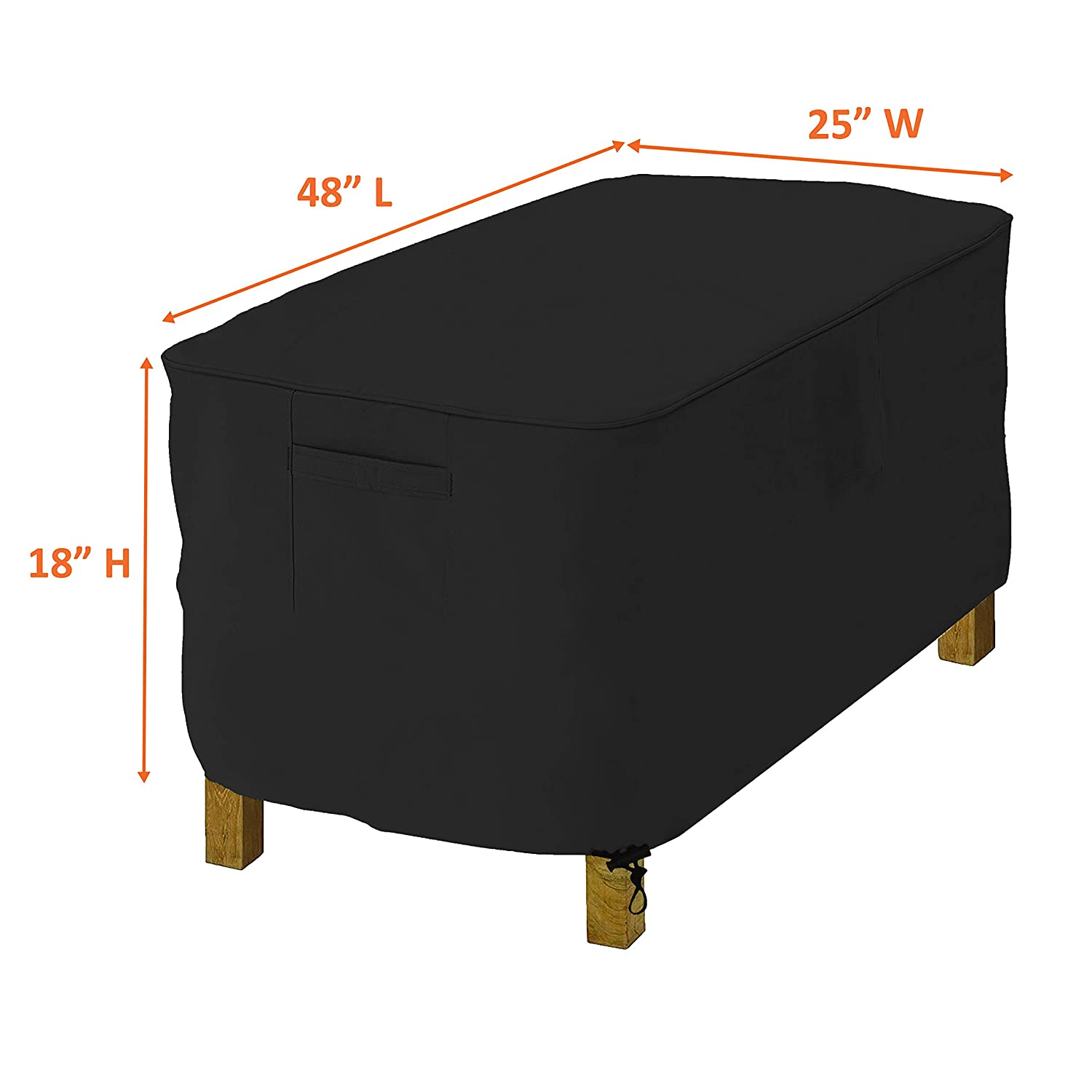 100/% UV /& Weather Resistant Outdoor Ottoman Cover with Air Pockets /& Drawstring for Snug Fit COVERS /& ALL Rectangle Ottoman Cover 18 Oz Waterproof 22 W x 32 L x 17 H, Black