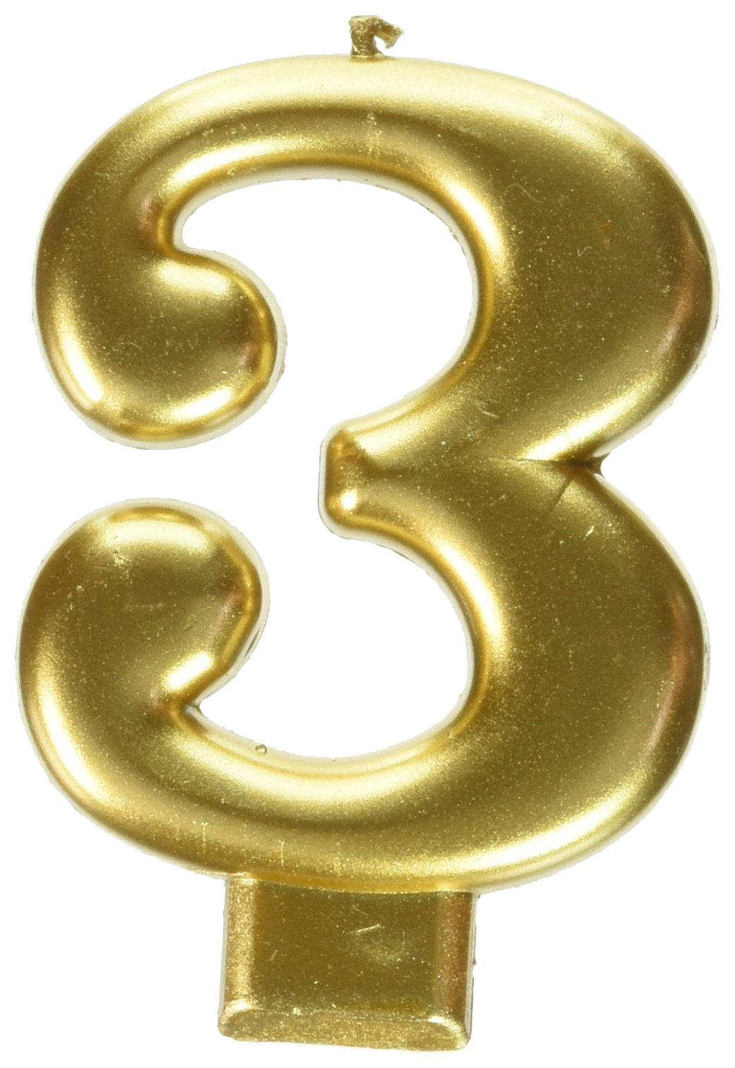 Amscan Birthday Celebration, Numeral #3 Metallic Candle, Party Supplies, Gold, 3 1/4''