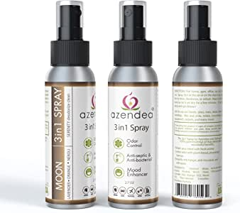 Azendea 3in1 Moon Spray. Contains 70% Alcohol. Evoke Serenity. Clean. Deodorize. Aromatherapy. Room. Shoes. Surface. Blend: Lavender, Sweet Orange, Frankincense. for Men, Women, Adults, Kids, Animals