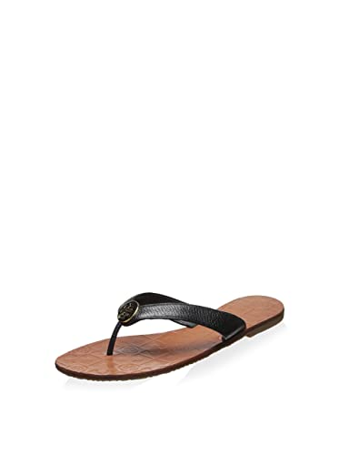 Tory Burch Women's Thora Flat Thong Sandal, Black/Gold, 6 B(M
