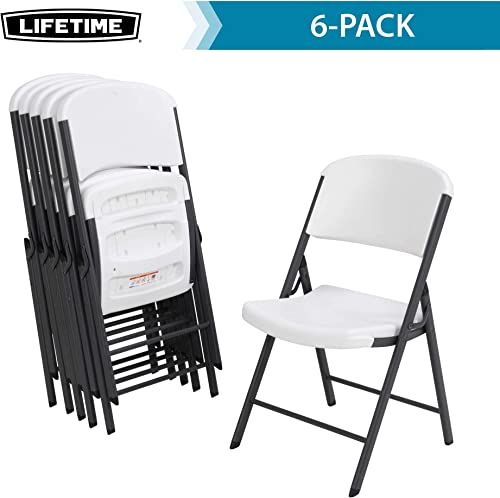LIFETIME 80747 Commercial Grade Folding Chairs, 6 Pack, White Granite