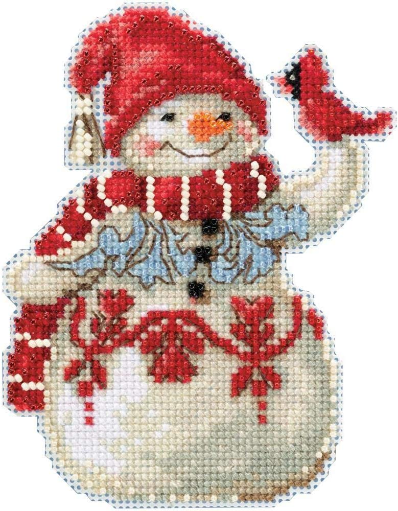 Mill Hill//Jim Shore Counted Cross Stitch Kit 5X3.5-Snowman with Cardinal