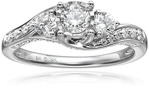 14k White Gold Diamond 3-Stone Engagement Ring (1cttw, H-I Color, I1-I2 Clarity), Size 7