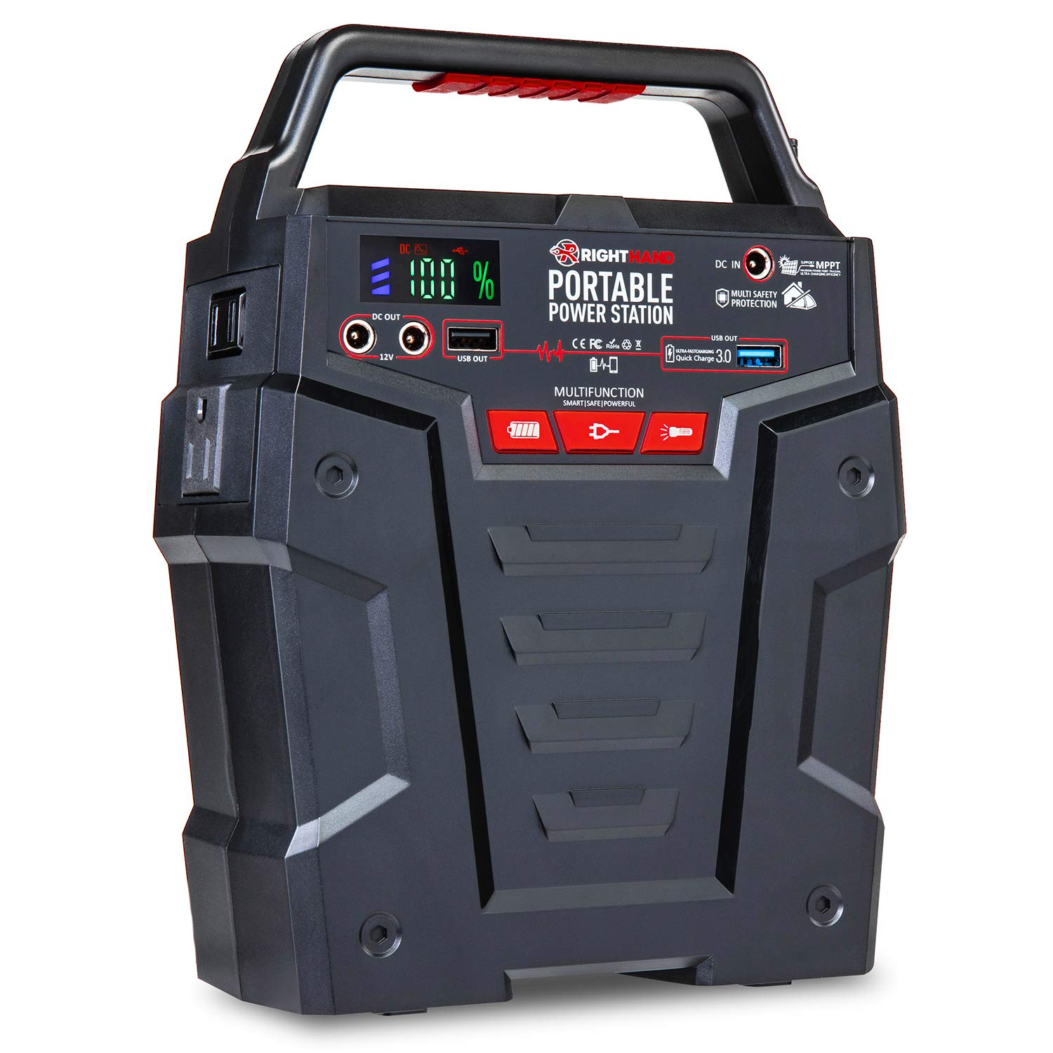 Portable Power Station 155Wh Gas Free Generator - Rechargeable by Solar Panel, Wall Outlet, 12V Car Charger - Dual 110V AC Outlet - 2 DC Ports, 2 USB Ports (1 QC3.0), Flashlight by Right Hand