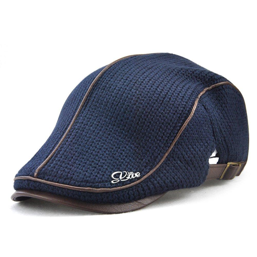 Knitted Woollen Beret Hat Casquette Flat Visor Newsboy Peak Cap E8300