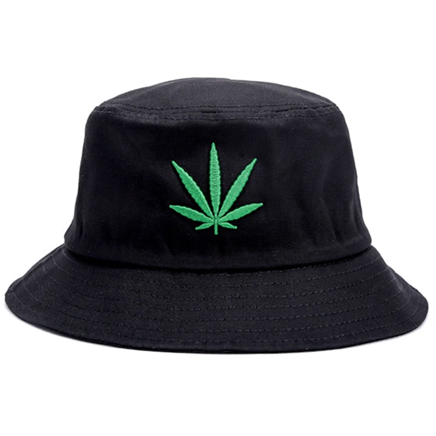 a377d697da8 Bucket Hat Cap Marijuana Weed Leaf Cannabis - Foldable Snapback Men Women  (Black) at Amazon Men s Clothing store