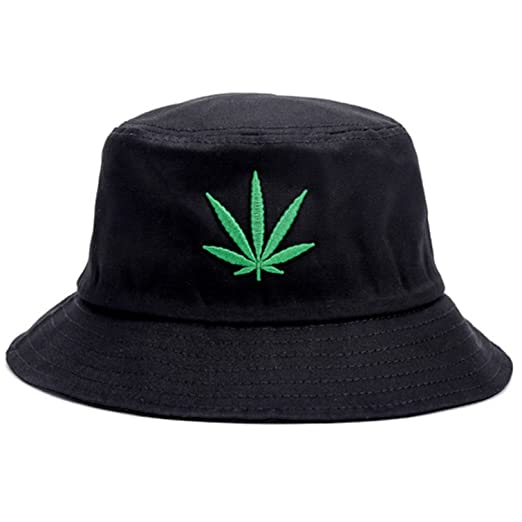 55dad0e97ec Bucket Hat Cap Marijuana Weed Leaf Cannabis - Foldable Snapback Men Women  (Black)