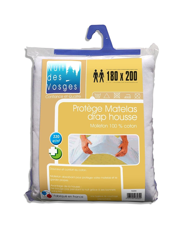 Nuit des Vosges 2035353 Aubin Protector de colchón absorbente de felpa/Algodón blanco 200 x 180 cm: Amazon.es: Hogar
