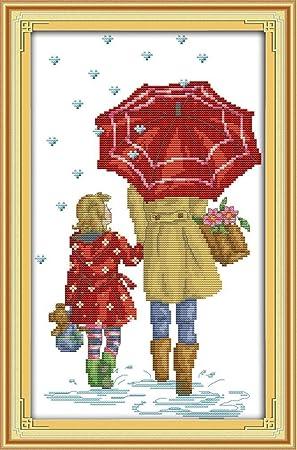 YEESAM Art nueva Kits de punto de cruz avanzada – la madre y hija bajo el