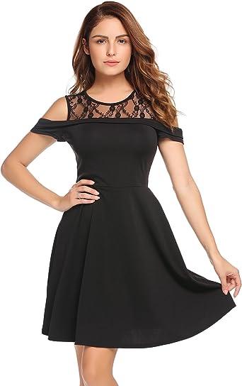 Damska elegancka koronka okrągły dekolt linia A suknie wieczorowe Cocktail sukienki impreza sukienka sukienka koktajlowa sukienka mini krÓtkie uroczysta: Odzież