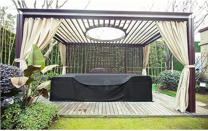 SIRUITON Funda de Muebles de Jardín Exterior Mesa de jardín y Silla Cubierta de Protección Impermeable Negro: Amazon.es: Hogar