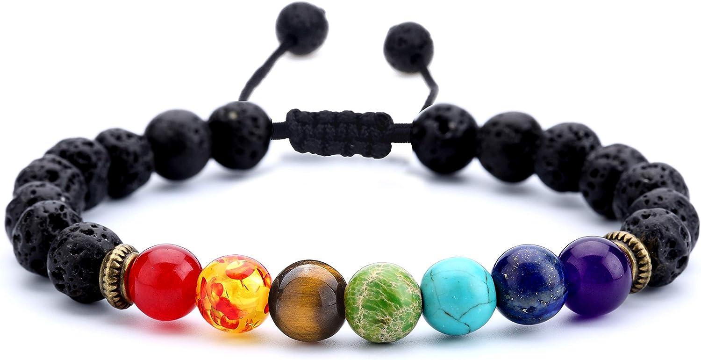 Hamoery Men Women 8mm Lava Rock 7 Chakras Aromatherapy Essential Oil Diffuser Bracelet Braided Rope Natural Stone Yoga Beads Bracelet Bangle