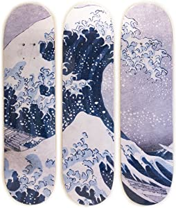Musart Wood Skateboard Tryptich Wall Art Wall Decor Hokusai The Great Wave off Kanagawa (1829-1832) Limited Edition of 100 32″H x 8″L x 0.5″W Inches