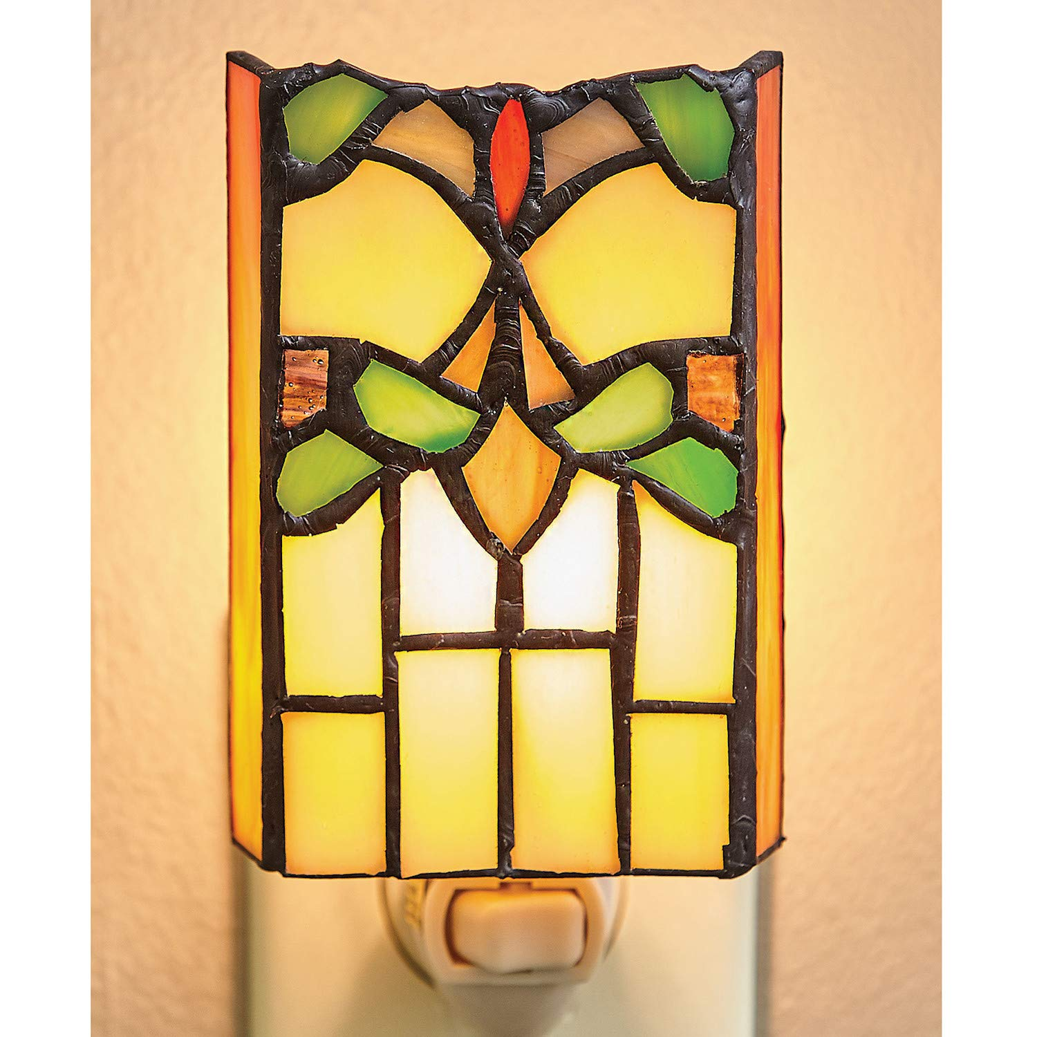 Victorian Trading Art Deco Stained Glass Floral Nightlight Plug In Accent Lamp