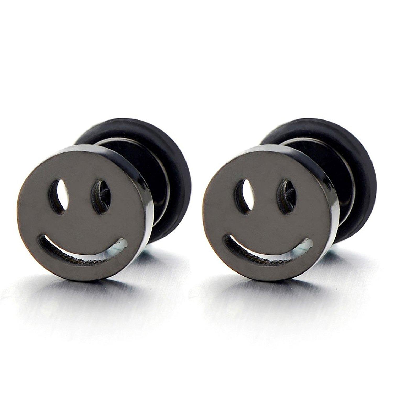 2pcs Smiling Face Black Stud Earrings in Steel for Men Women Boys, Screw Back COOLSTEELANDBEYOND ME-260