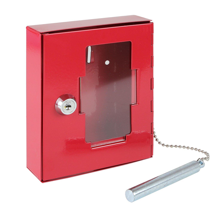 HMF Boî te de secours pour clé s avec marteau pour briser la vitre, 15 x 12 x 4 cm Rouge 15x 12x 4cm Rouge