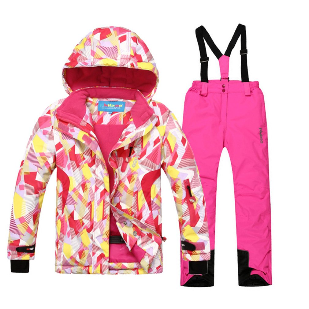 mansmoer Children's Ski Suit Girls Warm Winter Sport Snowboard Jacket Snow Pants (122/128, (Pink + Pink)/8019)
