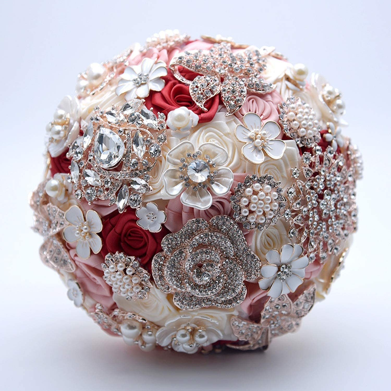 Amazon Com Taehyung Silk Wedding Flowers Rhinestone Jewelry Blush