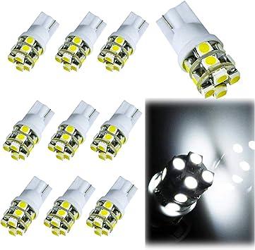 10X 6000k Car T10 192 168 194 W5W  LED Wedge Light Bulbs Mini Size 6000K White