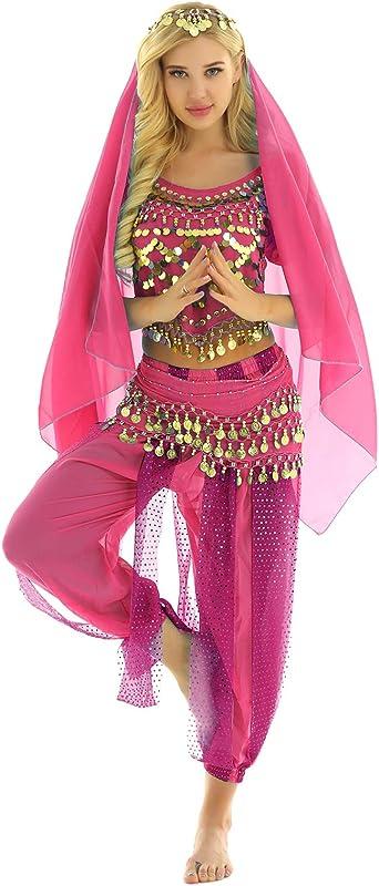 inhzoy Vestido Danza del Vientre para Mujer Disfraz de Princesa ...