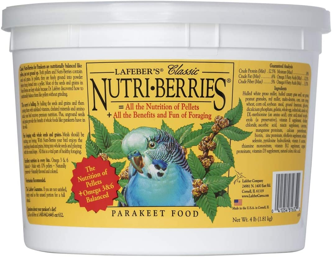LAFEBER'S Classic Nutri-Berries Pet Bird Food, Made with Non-GMO and Human-Grade Ingredients, for Parakeets (Budgies)