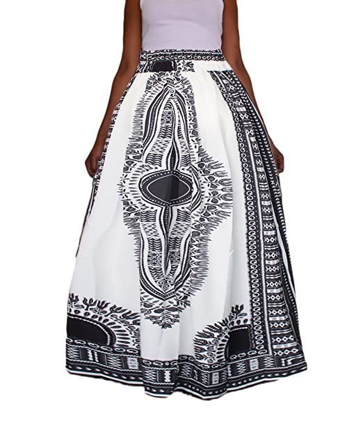 7742ef081397 Gonne Donna A Vita Alta Lunghe Elegante Vintage Hip Hop Stile Etnico  Stampato Pattern Moda Pieghe Gonna Lunga Gonna A Ruota  Amazon.it   Abbigliamento