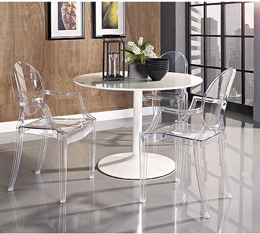 Salon Bureau Transparent Anaelle Pandamoto Lot de 2 Ghost Chaises en Acrylique Polycarbonate Accoudoir pour Salle /¨/¤ Manger Poids: 12kg Taille: 93 * 54 * 57cm Restaurant et Jardin
