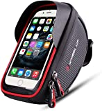 """Bike Phone Mount Bag, Bicycle bag with 6"""" Sun Visor Touch Screen Waterproof Bicycle Front Frame Handlebar Bag for iPhone X 8 7 Plus 6 Plus Samsung Galaxy s7 Note 7 Cellphone with Sun Visor (Black Red)"""