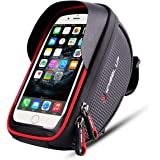 "Bike Phone Mount Bag, Bicycle bag with 6"" Sun Visor Touch Screen Waterproof Bicycle Front Frame Handlebar Bag for iPhone X 8 7 Plus 6 Plus Samsung Galaxy s7 Note 7 Cellphone with Sun Visor (Black Red)"