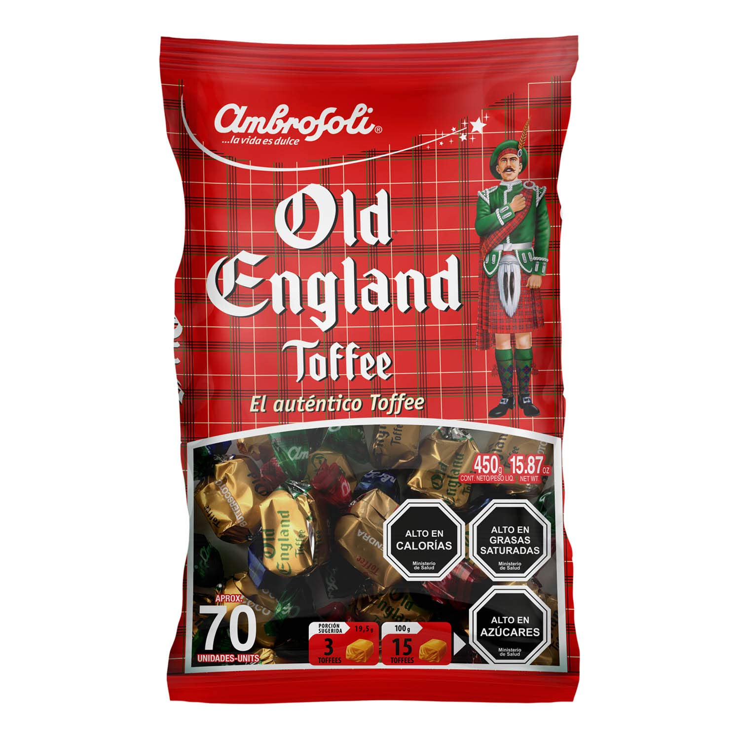 Old England Toffee Candy Ambrosoli Authentic Chilean Candies. Assorted Almond, Coco, Butterscotch. Bags 130, 450 and 1000 grms (450)