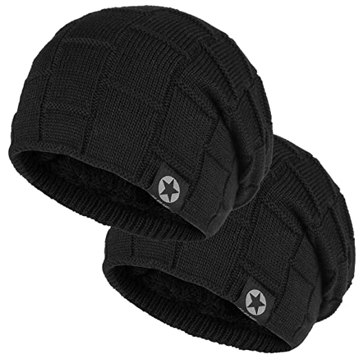723ab5af2 Bodvera Winter Knit Wool Warm Hat Thick Soft Stretch Slouchy Beanie Skully  Cap