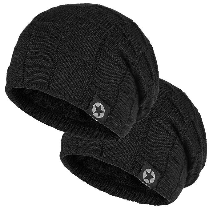 aae7c230dd17 Bodvera Winter Knit Wool Warm Hat Thick Soft Stretch Slouchy Beanie Skully  Cap (2Black,