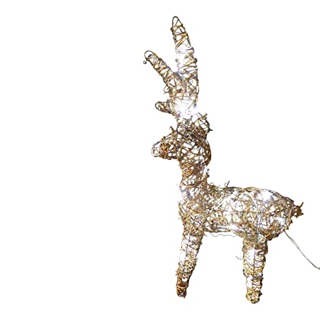 uk gardens large light up 60cm 2ft pre lit rustic brown christmas reindeer figure ornament