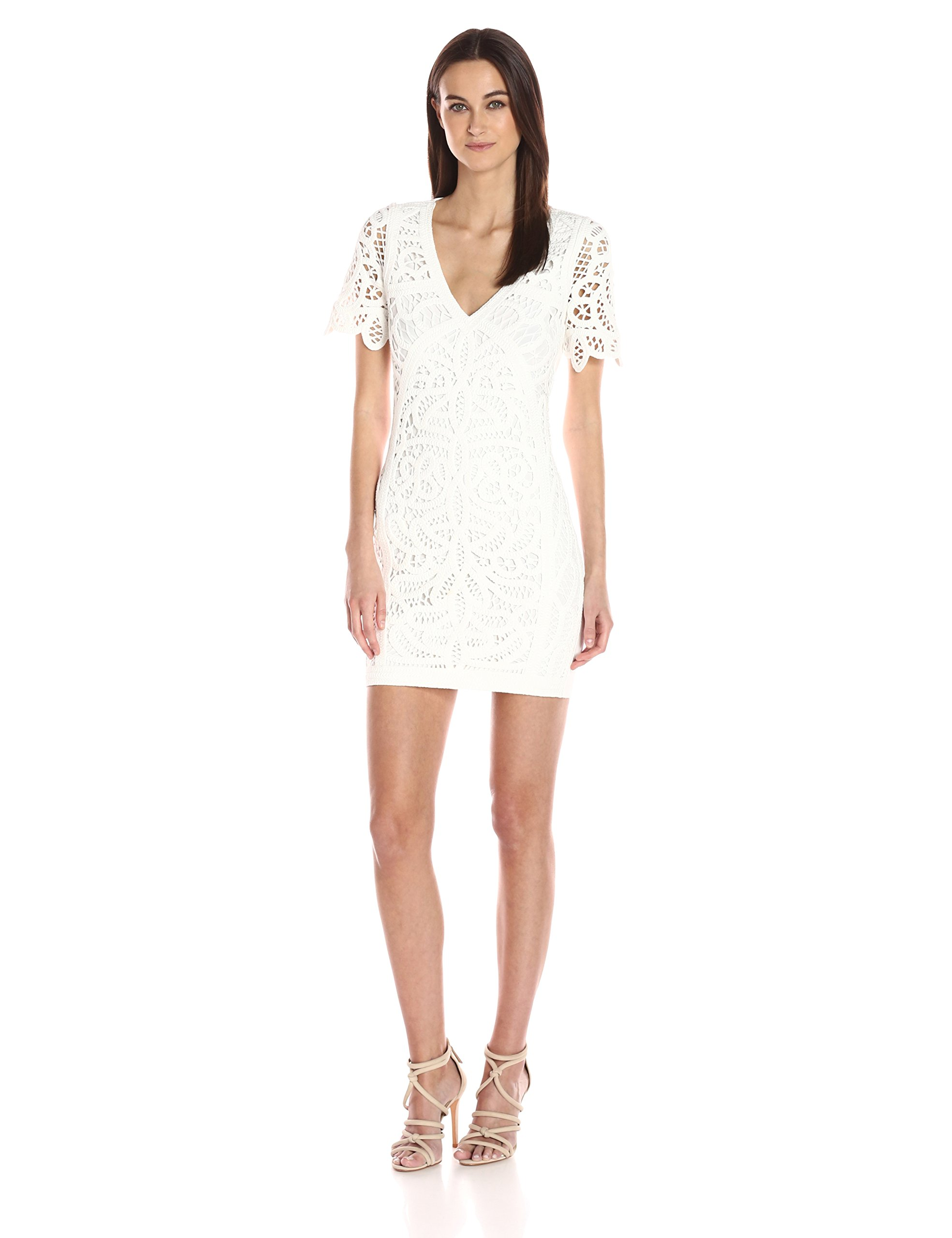 French Connection Women's Mesi Macrame Jersey Dress, Summer White, 10