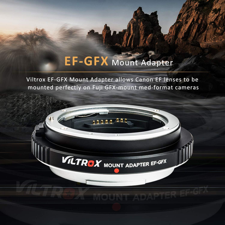 VILTROX EF-GFX マウントアダプター AF キャノン Canon EF/EF-Sマウントレンズ→富士 Fujifilm GFXマウント中判カメラ変換 絞り調整可能 IS手ぶれ補正 USBポート付き GFX 50S / 50R   B07QMVDH2D