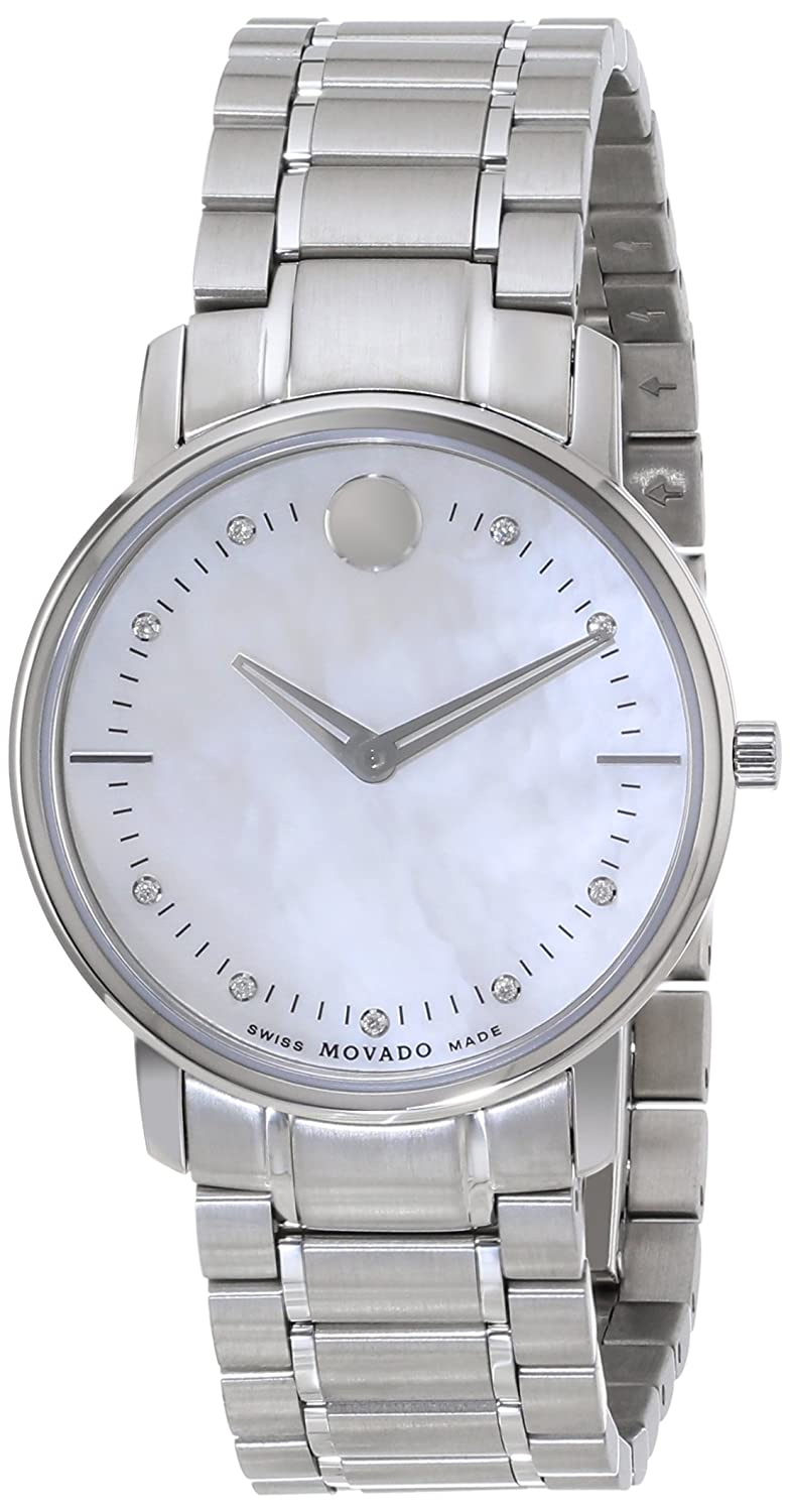 8d9b2aaffc6 Amazon.com  Movado Women s 0606691 Movado TC Stainless Steel Bracelet Watch  with Diamond-Accented Mother-of-Pearl Dial  Movado  Watches