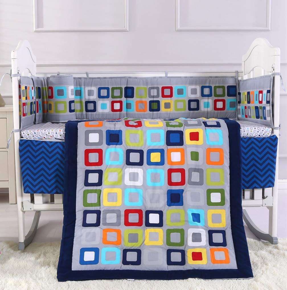 Blue Lattice-7 Piece Wowelife Blue Crib Bedding Set 7 Piece Geometry Crib Sets for Boys