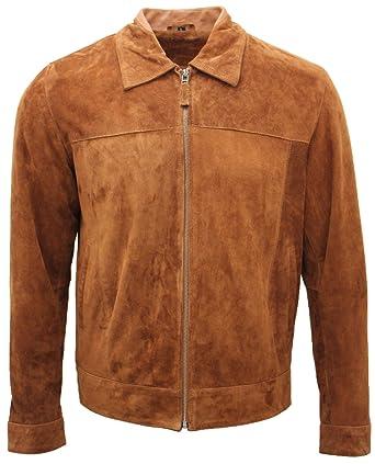 the latest f3ac5 ed59f Männer Klassisch Bräunen 100% Echtes Ziegenleder Wildleder Harrington Shirt  Jacke
