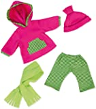 Bayer Design - Ropa para muñecas, conjunto invierno, pantalón con suéter, chal y gorro, color verde, rosa (84664AA)