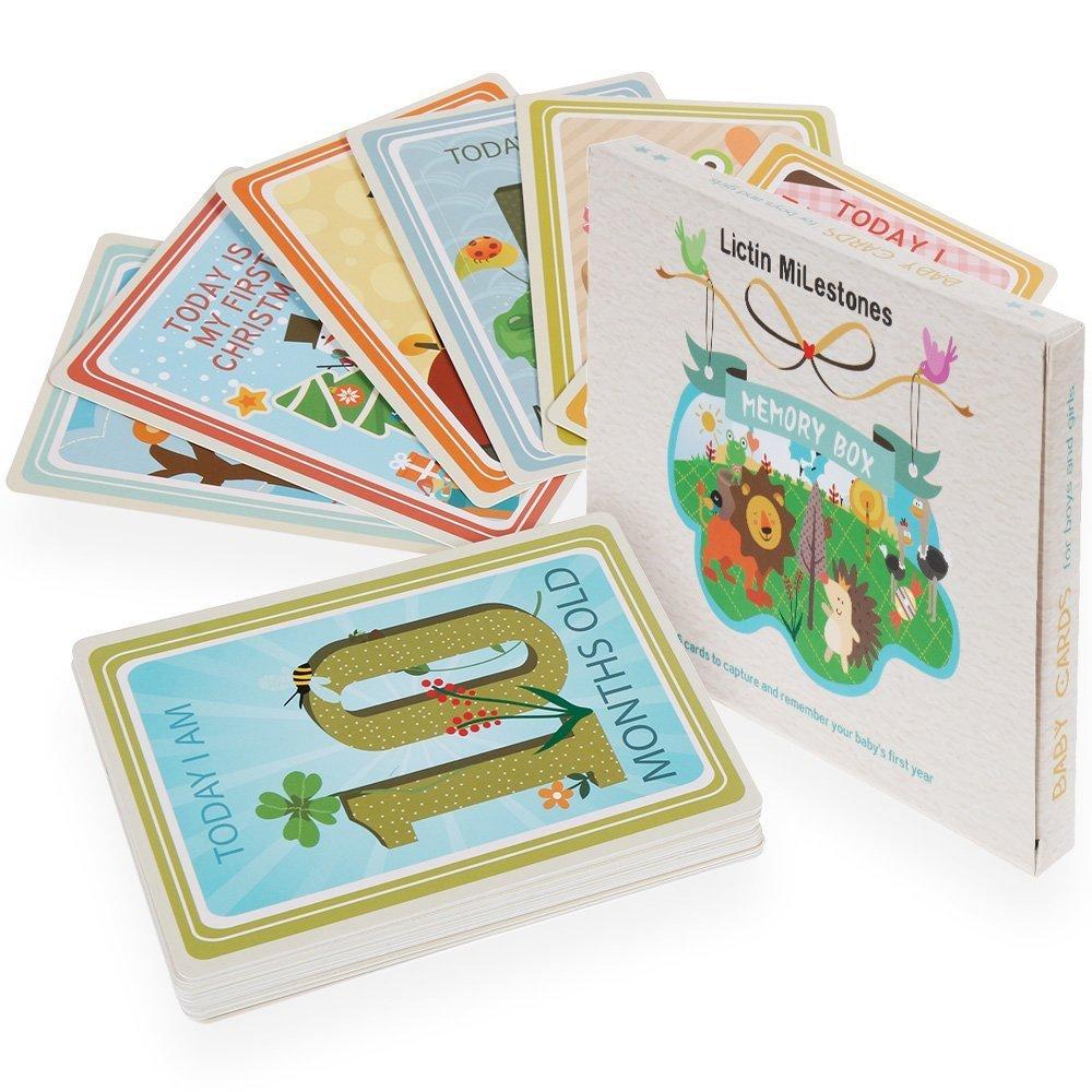Lictin 36 Papier Bébé Carte de Souvenir Unisexe Parfait Cadeau de Naissance pour Souvenir les Moments Clés de Bébé Fille et Garçon