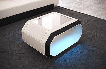 Couchtisch Beistelltisch Wohnzimmertisch Stoff ROMA Mit LED Beleuchtung Akkubetrieben