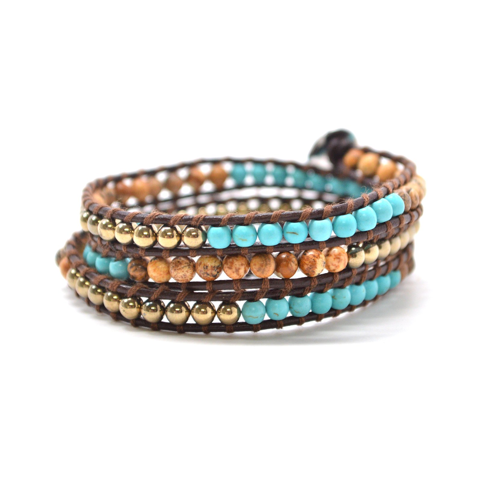 Turquoise Gold Brown Round Beads 23'' Brown Leather Wrap Bracelet Bohemian Style by Baubles N Gems