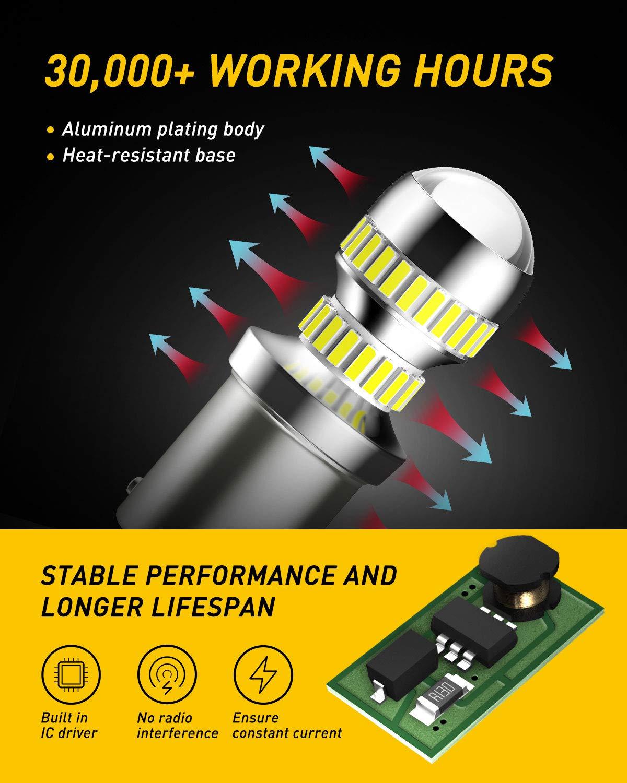 AUXITO 2600LM 1156-LED-Bulbs BA15S P21W 7506-LED-Light-Bulbs 2019 Latest Design Super Bright for Backup-Reverse-Light-Bulb Tail Light 6000K White