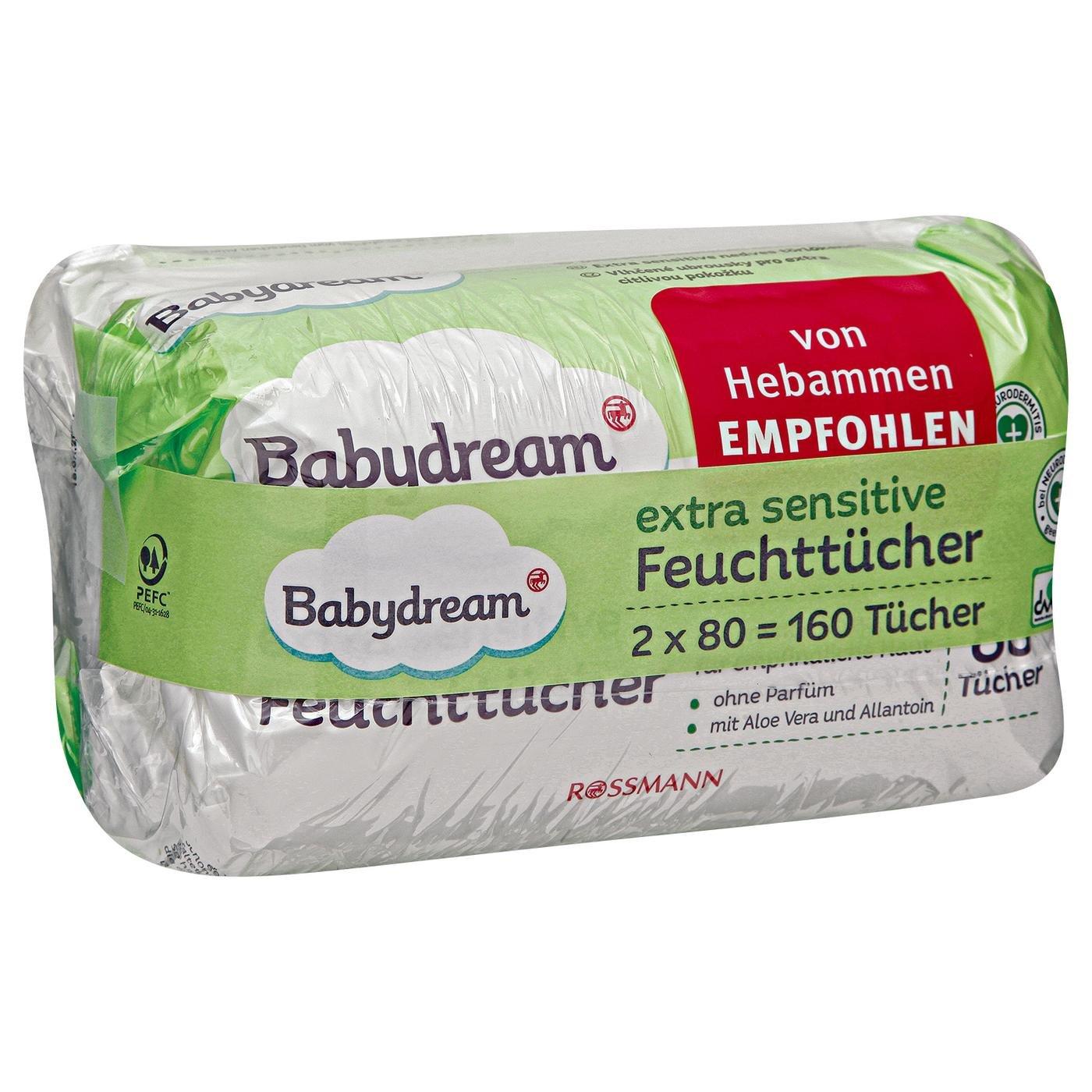 Baby Dream extra Sensitive Toallitas 160 unidades para pieles sensibles, limpieza, sin pafüm, con aloe vera & allantion, en neurodermitis.