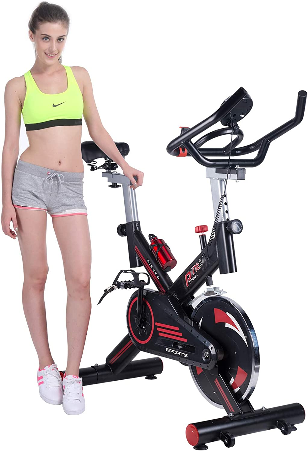 Pinty Indoor Cycling Bike Stationary Trainer Indoor Exercise Bike with Phone Holder for Health Fitness Fully Adjustable, 330lb Capacity