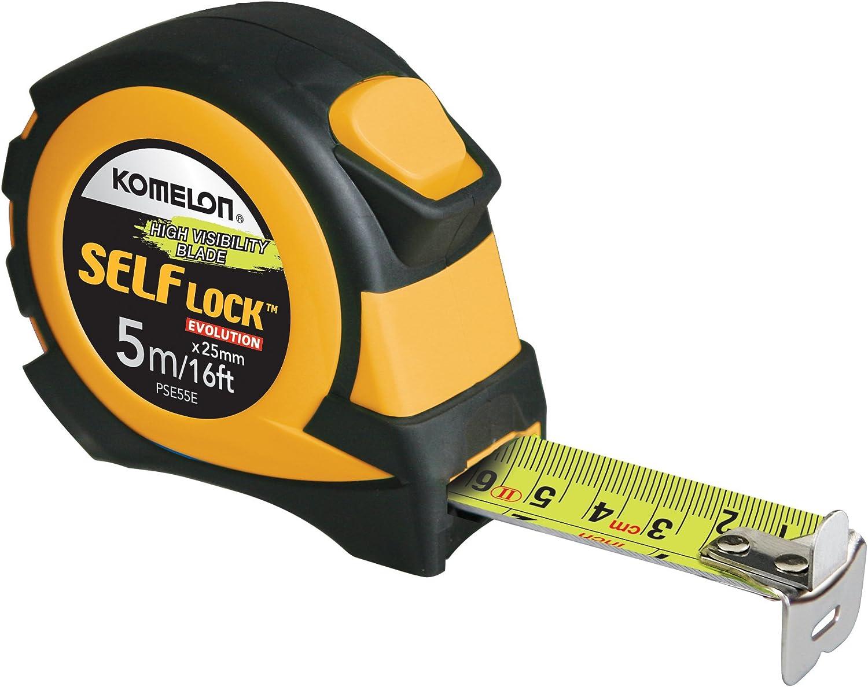 Komelon PSE55E 5M/16' Metric Self-Lock Tape Measure, Yellow/Black