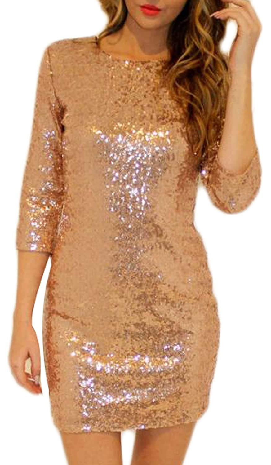 XTX Women Sequin Solid See Through Sexy Party Dress L Gold