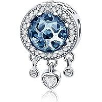 Dream Catcher Charm en argent sterling 925Véritable Cœur Radiant CZ Cristal Perle Fit Pandora Charm Bracelet et collier
